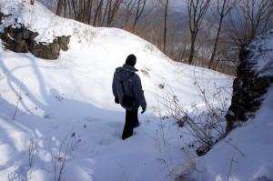 провальная воронка в базальтах на гребне горы Ван Ган